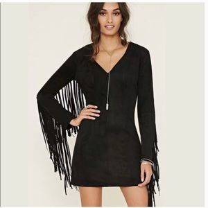 Forever 21 Faux Suede fringe mini dress - NWT